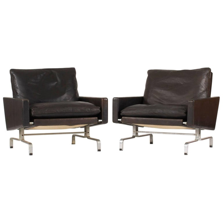 "Pair of ""PK 31"" Leather Lounge Chairs by Poul Kjærholm"