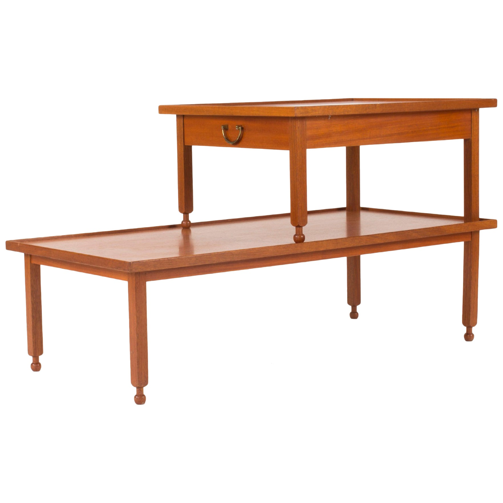 Mahogany Side Table with a Drawer by Josef Frank