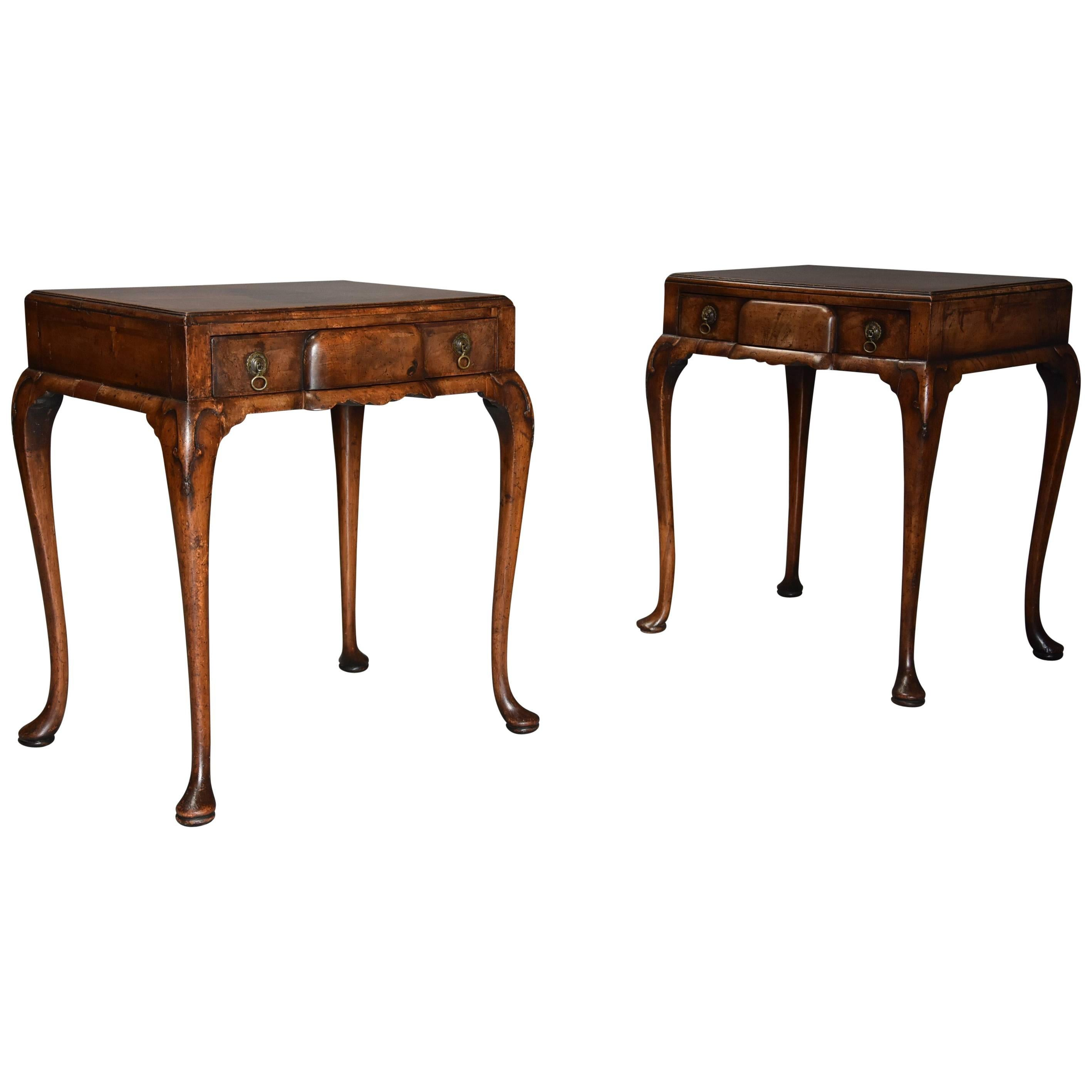 Pair Of Early 20th Century Queen Anne Style Freestanding Walnut Side Tables  1