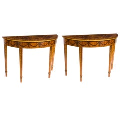 Superb Contemporary Pair of Half Moon Mahogany and Marquetry Console Tables