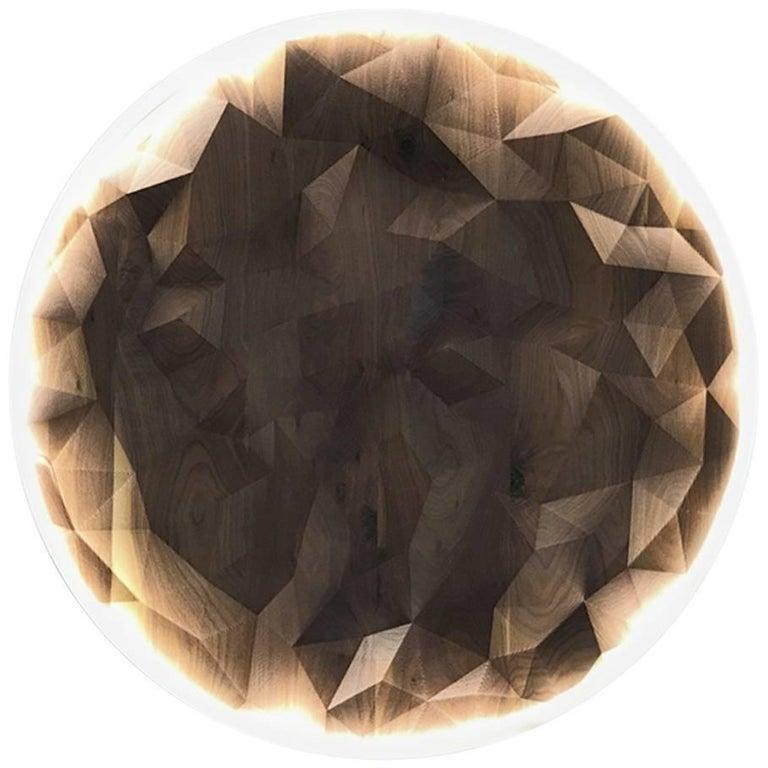 Telegon Wall Light- American Black Walnut Wall Light with Malagasar Bone Polymer