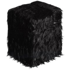 """Blocco"" Black Mongolian Fur or Velvet Pouf Designed by Nanda Vigo for Driade"