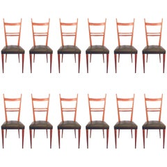 Set of 12 Ashwood Chairs in the Style of Gio Ponti, Edition Roset