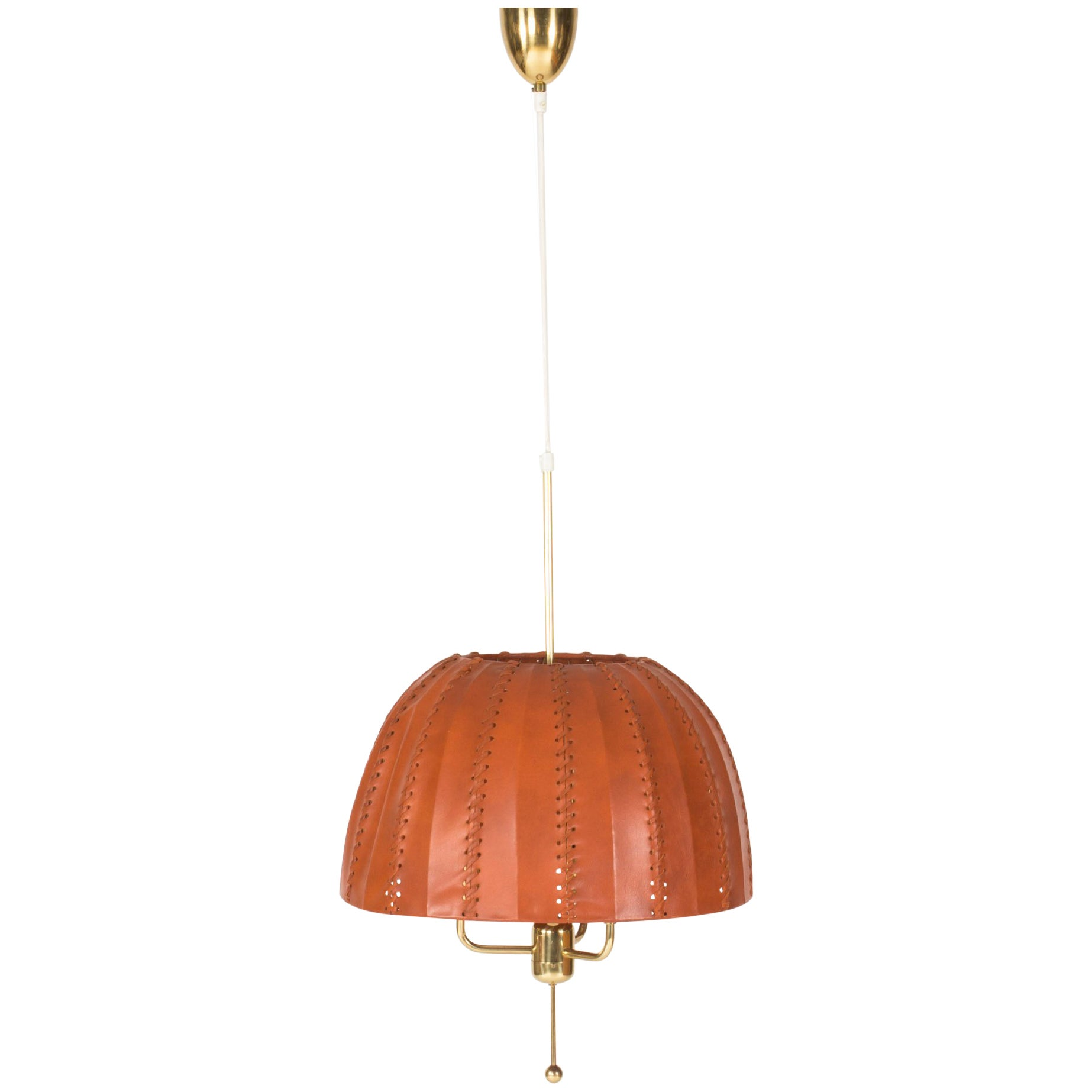 Leather and Brass Pendant Lamp by Hans-Agne Jakobsson