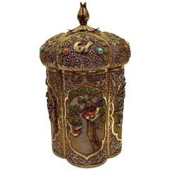 Late 19th Century Chinese Export Gilt-Silver and Enamel Tea Caddy Box