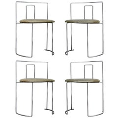 Four Kazuhide Takahama Chairs in Leather and Chrome-Plated Steel from 1960s