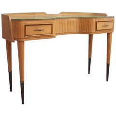 Italian Mid-Century Console Maple Wood Elegant Form
