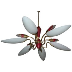 Mid-Century modern  Chandelier ,glass,brass,lacquered metal Italian design