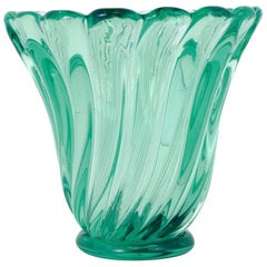 Large Emerald Green Murano Glass Vase by Seguso, Italy, circa 1950