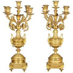 Pair of Candlesticks Five-Light Points Gilded Bronze, Europe, 19th Century