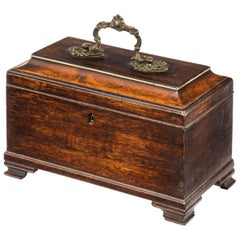Chippendale Period Mahogany Tea Caddy with a Original Brass Handle