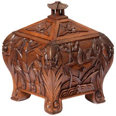 Late 19th Century Chinese Wooden Tea Caddy