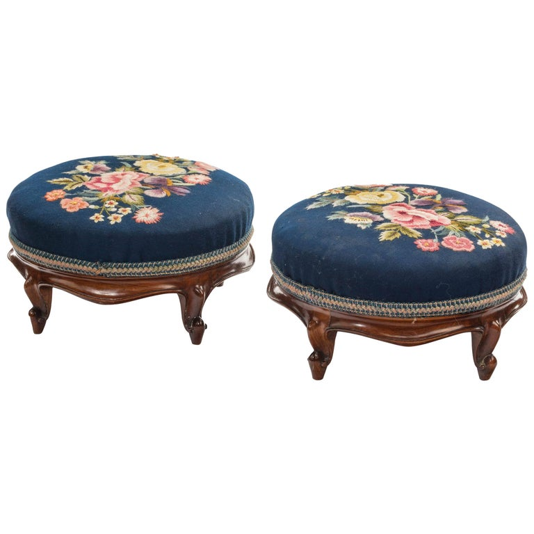 Pair of Mid-19th Century Mahogany Framed Stools on Cabriole Supports