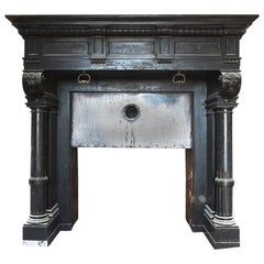 noir de mazy black marble antique castle fireplace from 1892