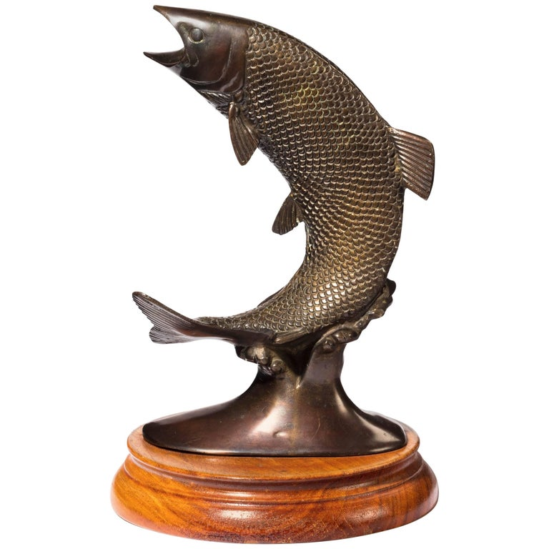 Late 19th Century Cast Bronze Figure of a Leaping Salmon