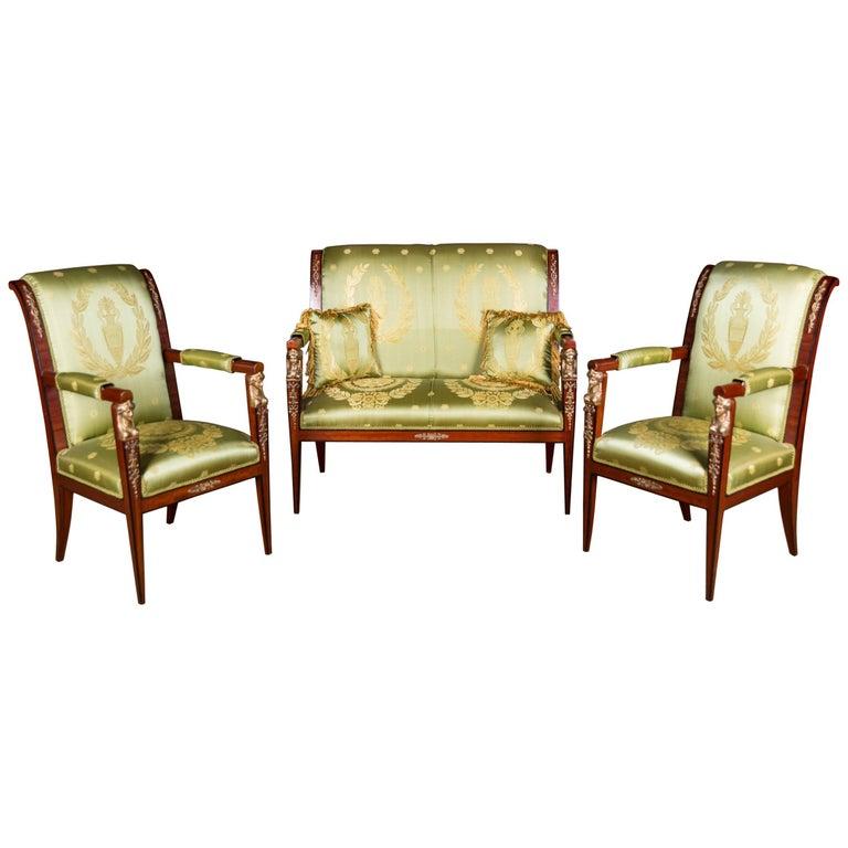Elegant French Seating Set in Empire Style Mahogany