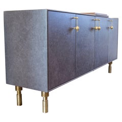 Handmade Bar Cabinet or Sideboard with Leather, Walnut Veneer and Brass