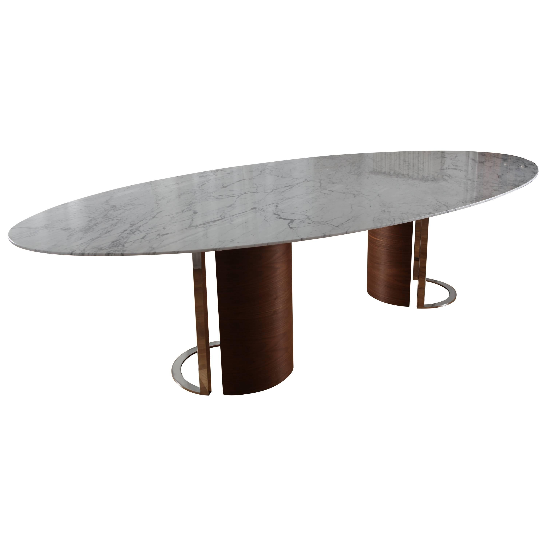 Contemporary Carrara Marble U0027Kayrau0027 Dining Table With Walnut Veneer Legs