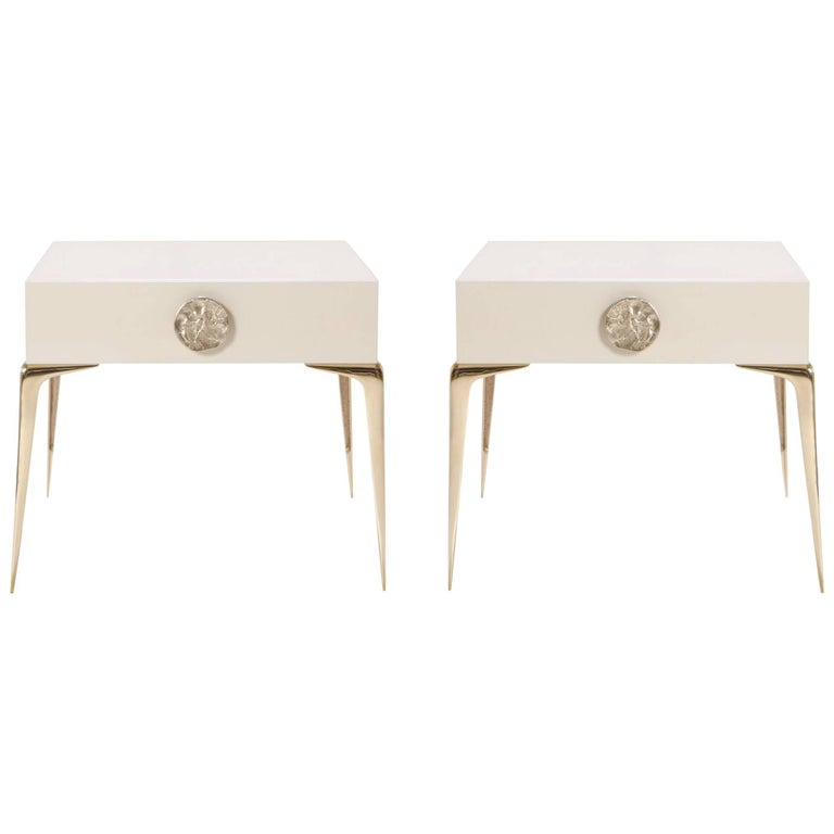 Colette Petite Brass Nightstands in Ivory Lacquer by Montage, Pair For Sale