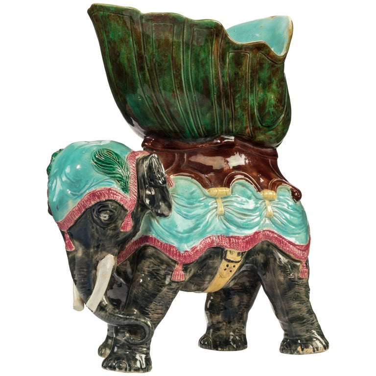 Late 19th Century Majolica Pottery Elephant Caparisoned with Jardinière For Sale