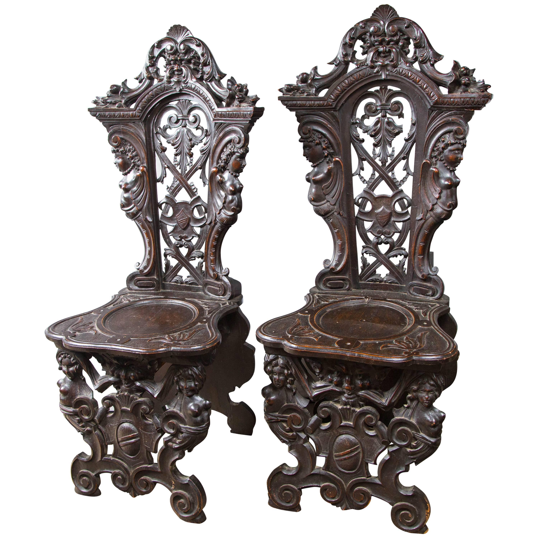 Rare Pair of Renaissance Sgabelli 'Side Chairs'