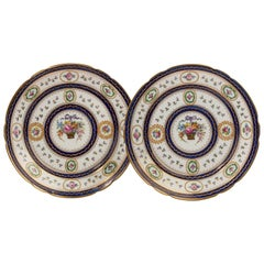 Pair of Late 19th Century Serve Porcelain Enameled Plates