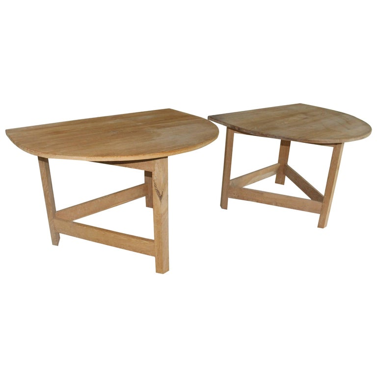 Pair of Modern Demilune Tables For Sale