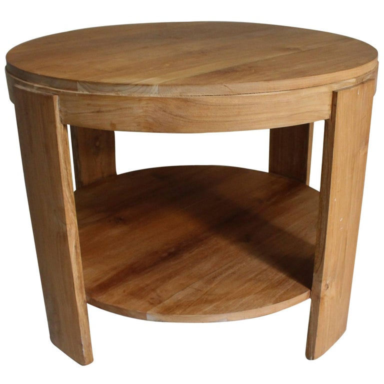 Bleached Oak Modern Circular Tiered Table 1