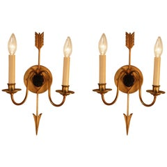 Pair of French Bronze Empire Style Wall Sconces