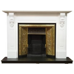 20th Century Victorian White Fire Surround with 19th Century Brass Fire Grate