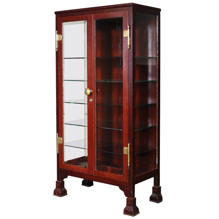 Curio Cabinet Glass And Metal Medical Storage Vintage
