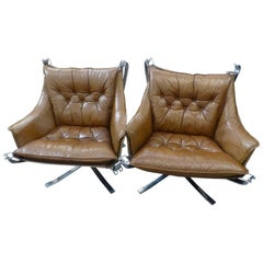 Fantastic Sigurd Ressell Leather Falcon Chair 'Chrome-plated legs', circa 1970