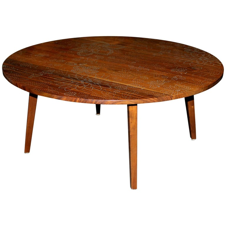 Peter Sandback Modernist Low Round Nail Table in Walnut and Maple