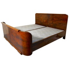 Burr Walnut Art Deco French King-Size Double Bed or Twin Beds