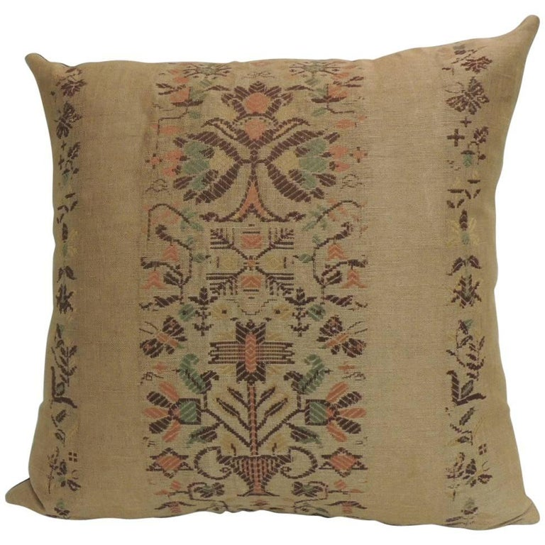 19th Century Arts and Crafts Linen Decorative Pillow For Sale at 1stdibs