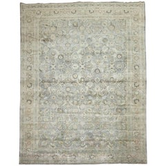 Light Blue Gray Antique Persian Tabriz Carpet