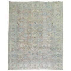 Soft Blue and Terracotta Antique Persian Tabriz Rug , Early 20th century