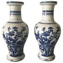 Large Chinese Mirror Pair of Kangxi Style Porcelain Vases