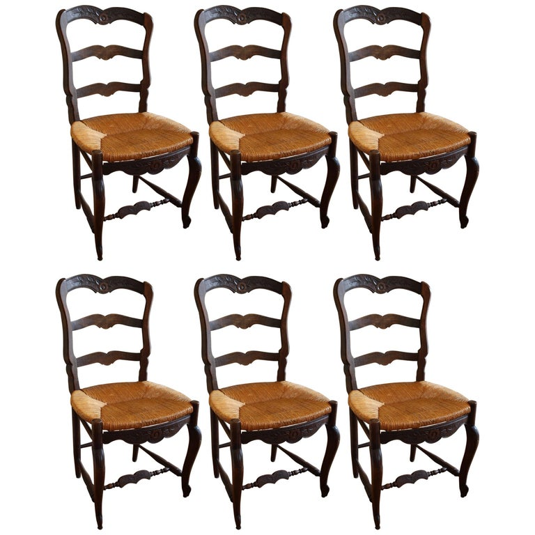French Country Kitchen Chairs: Set Of Six French Oak Kitchen Dining Country Chairs With