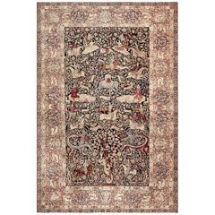Oversized Antique Persian Hunting Scene Kerman Rug