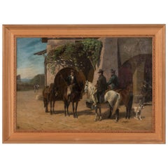 Antique 19th Century Oil Painting of Horsemen by Adolf Mackeprang