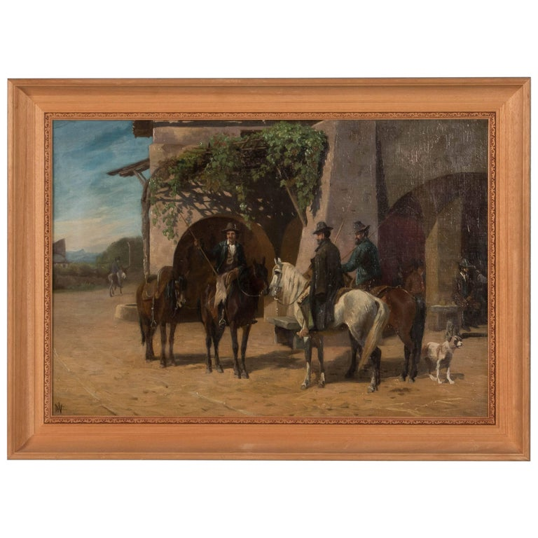 Antique 19th Century Oil Painting of Horsemen by Adolf Mackeprang For Sale