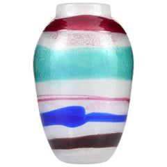 Large Cenedese Pulegoso Fasce Vase, Murano