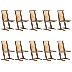 Set of Ten George Nakashima Conoid Dining Chairs