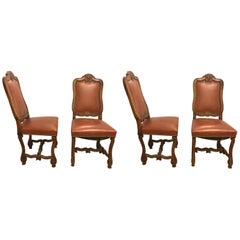 Set of Four Rococo Leather Side Chairs