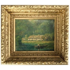 Antique Oil on Canvas New Hope School Impressionist Painting, Lake Scene