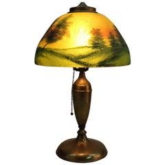 Antique Pittsburgh Reverse Painted Lamp, Landscape Scene, 20th Century