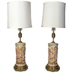 Pair of Italian Gilt & Painted Porcelain & Brass Capodimonte Table Lamps