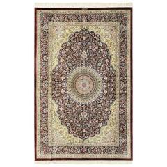 Small Brown Silk Persian Qum Rug