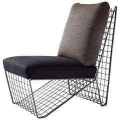 Vintage Wire Frame Grid Slipper Chair